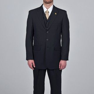 Stacy Adams Mens Black 3 button Vested Suit