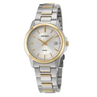 Seiko Mens Bracelet Silver Dial Yellow Gold Plated Watch