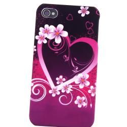Purple Heart Flower Case/ Stylus for Apple iPhone 4/ 4S
