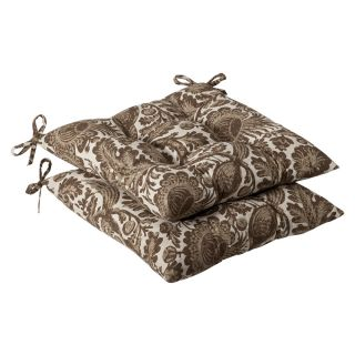 Pillow Perfect Outdoor Brown/ Beige Floral Tufted Seat Cushions (Set