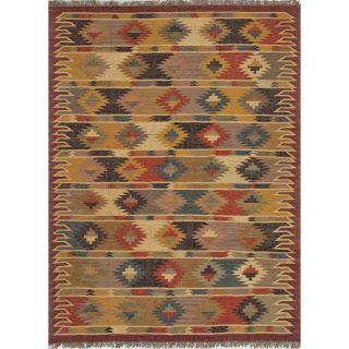 Handmade Flat Weave Tribal Multicolor Jute Rug (5 x 8) Today $179