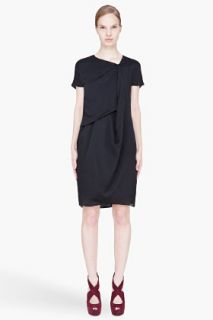 CARVEN Black Asymmetric Drape Dress for women