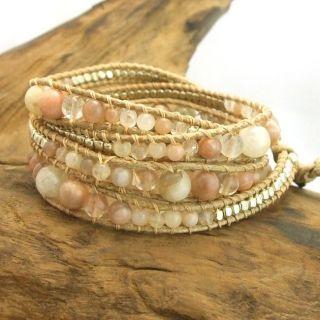 Earthy Gems Agate Quartz Stone Snake Cord Leather Wrap Bracelet