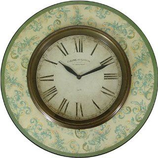 Old World Style Round Wall Clock  Sage Green Home