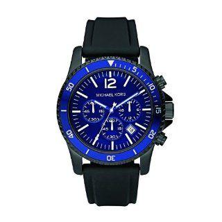 Michael Kors Mk8165 Chronograph Mens Sport Black Silicone Strap Blue