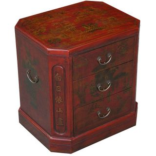 Hand painted Red Bonded Leather Oriental Accent End Table