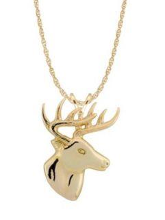 Stamper 10k Gold Large Deer Head Necklace Clothing