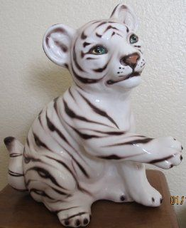 Decorative Ceramic White TIGER STATUE Hand Painted