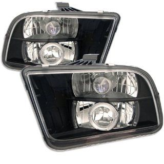 Ford Mustang 05 06 07 08 Projector Halo Headlights   Black (Pair