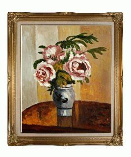 Hand Painted Framed Canvas Art Bouquet of Pink Peonies