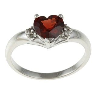 14k White Gold Heart cut Garnet and Diamond Accent Ring (J K, I1 I2