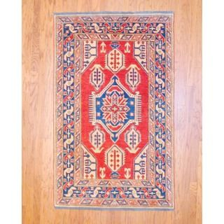 Afghan Hand knotted Tribal Kazak Red/ Navy Wool Rug (41 x 67
