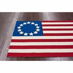 Handmade Luna Stars and Stripes Flag Wool Rug (4 x 6)