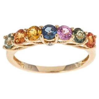 Yach 10k Yellow Gold Multi color Sapphire and Diamond accent Ring