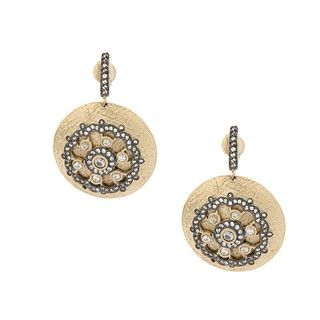Rivka Friedman Gold Overlay Esha Cubic Zirconia Dangle Earrings