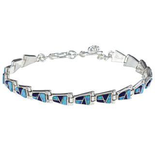 Sterling Silver Lapis Opal Toggle Bracelet