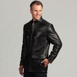 Izod Mens Black Lambskin Leather Zip Jacket