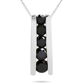 10k Gold 7/8ct TDW Black Diamond Drop Necklace