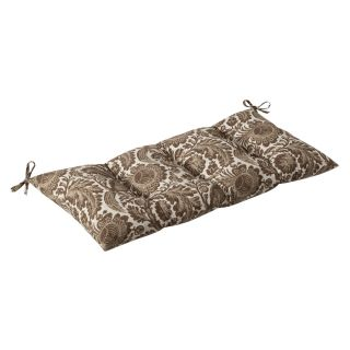 Pillow Perfect Outdoor Brown/ Beige Floral Tufted Loveseat Cushion