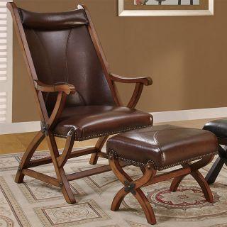 Brown Morris Hunter Chair and Ottoman
