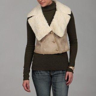 Gossip Girl Womens Faux Sheep Skin Vest