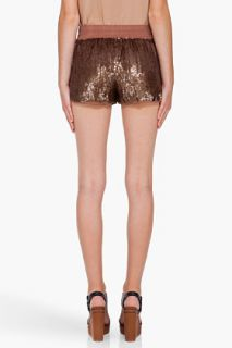 Haute Hippie Taupe Sequin Shorts for women