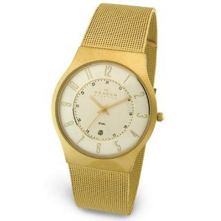 Skagen Mens Steel Collection Gold Tone Mesh Stainless Steel Watch