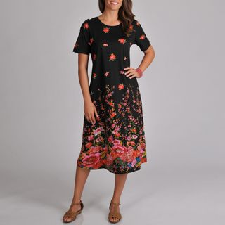 La Cera Womens Short sleeve Black Floral Print A line Dress