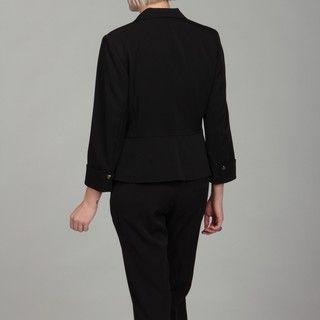 Emily Womens Black One button Peplum Jacket Pant Suit