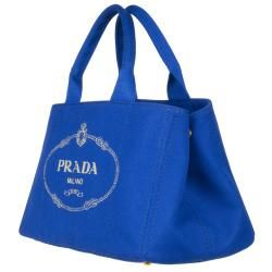 Prada BN1877 Blue Canvas Tote Bag