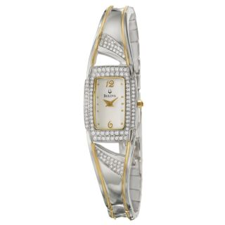 Bulova Womens Crystal Two Tone Stainless Steel Quartz Watch