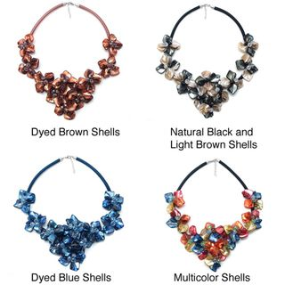 Mulicolor Splendor Dyed Shells Black Sain Necklace (Philippines