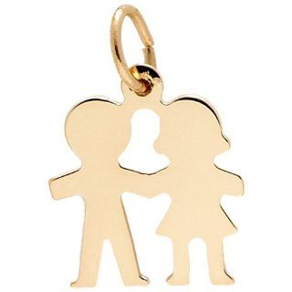 Rembrandt Charms Boy and Girl Charm, 14K Yellow Gold