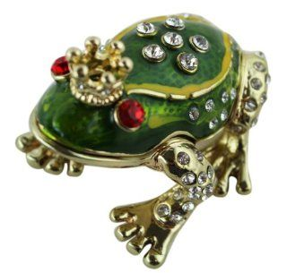 Bejeweled Metal Frog Prince Pill Box Pill Box Toys