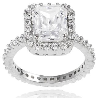 Tressa Sterling Silver Square Cubic Zirconia Bridal style Ring