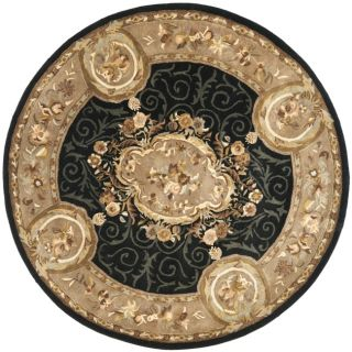 Handmade French Aubusson Black Premium Wool Rug (8 Round)