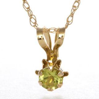 14k Yellow Gold Peridot Birthstone Pendant
