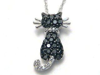 Black & White Diamond Kitty Cat Necklace white gold