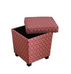 Trapezoid Storage Ottoman Red Geometric Fabric