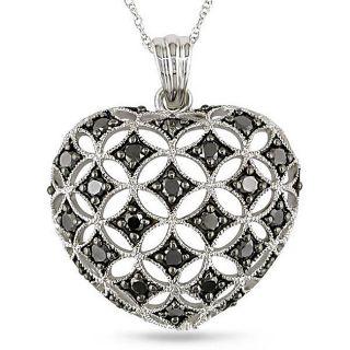 10k White Gold 1ct TDW Black Diamond Heart Necklace