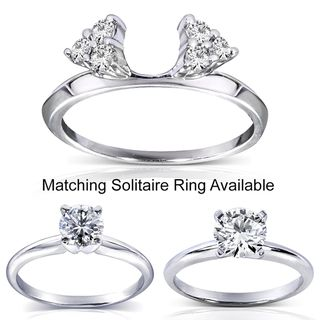 14k White Gold 1/4 to 1ct TDW Diamond Wrap or Round cut Solitaire Ring
