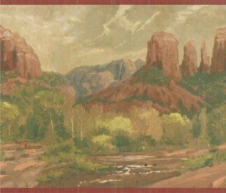 Rock Landscape Red Wallpaper Border by Imperial in Thomas Kinkade