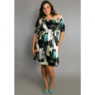 INES Collection Womens Plus Size Shirred Boat Neck Dress