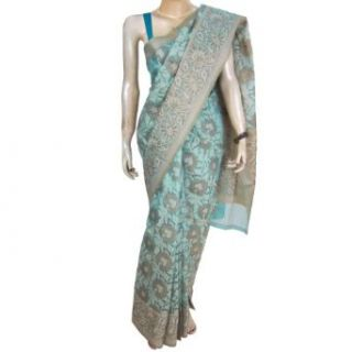 Saree Indian Wear Silk And Rayon Mix Turquoise Summer