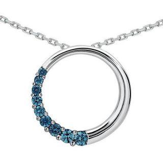 10k White Gold 1/2ct TDW Blue Diamond Circle Journey Necklace