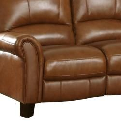 Charleston Honey Italian Leather Reclining Sofa and Two Reclining