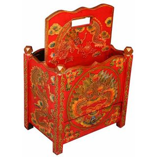 Hand painted Tibetan Dragon Magazine Rack