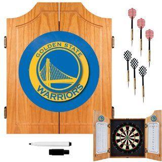 Golden State Warriors NBA Wood Dart Cabinet Set Sports