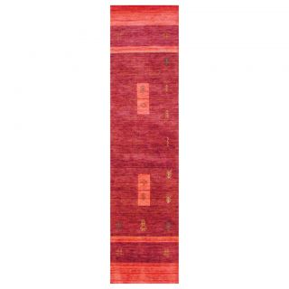 Indo Hand loomed Purple/ Red Gabbeh Wool Rug (26 x 10)