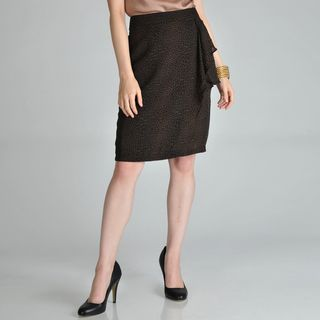 Hanna and Gracie Womens Mock Wrap Side Flounce Pencil Skirt
